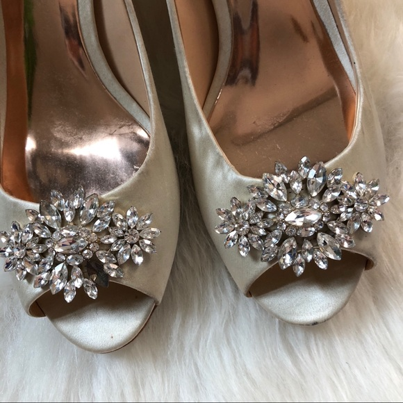 9ab6f1924a Badgley Mischka Shoes | Nakita Peep Toe Crystal Satin Pump | Poshmark